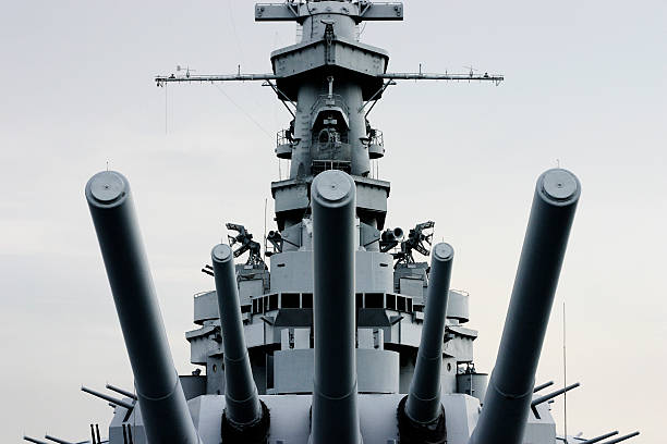 Close-up front of Battleship U.S.S. Alabama with retro tint stock photo