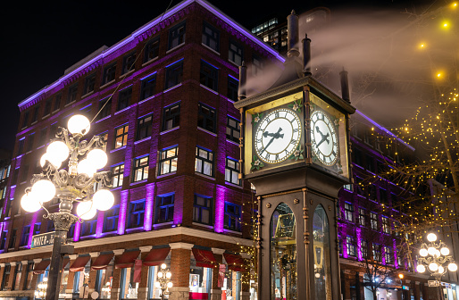 Close-up Gastown Steam Clock. Vancouver downtown beautiful street view at night. British Columbia, Canada.