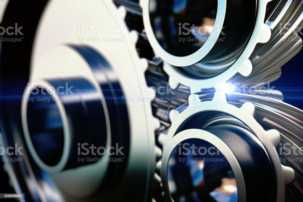 close-up gear metal wheels stock photo