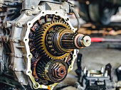 istock Closeup gears of car engines. 1192395755