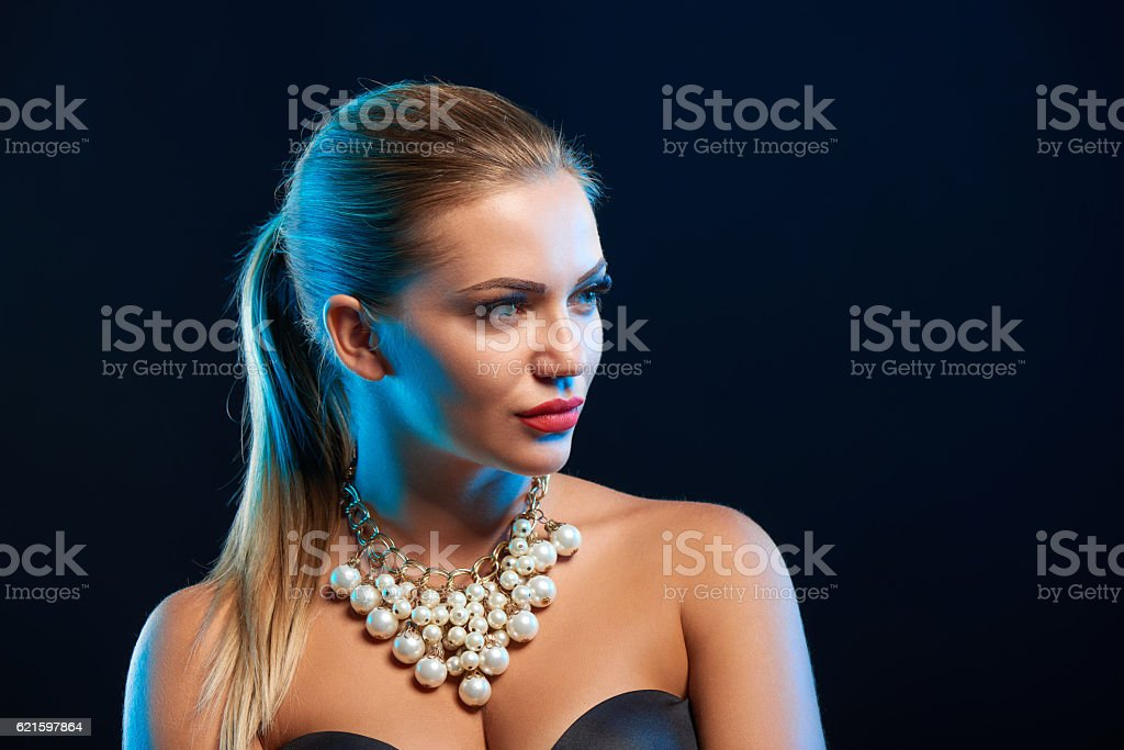 Closeup glamour fashion portrait of young woman stock photo