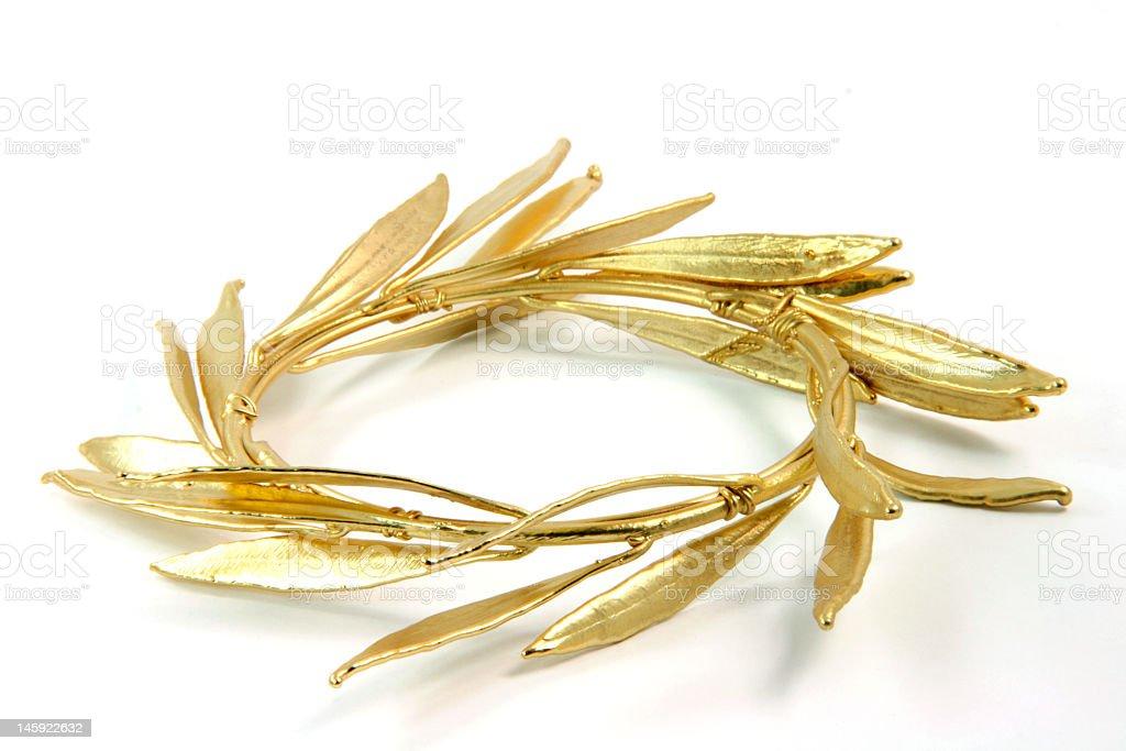 closeup gold wreath stock photo