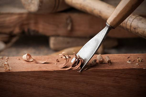 closeup gouge for wood on carpenter workbench – Foto