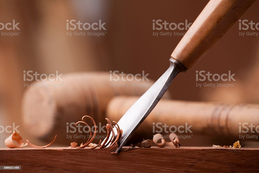 closeup gouge for wood on carpenter workbench stock photo