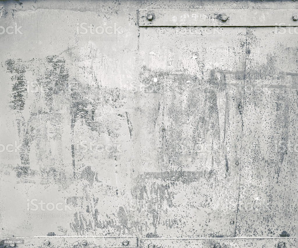 Close-up gray painted parts old submarine sheet metal background texture stock photo