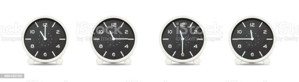 Closeup group of black and white clock with shadow for decorate show the time in 11 , 11:15 , 11:30 , 11:45 a.m. isolated on white background , beautiful 4 clock picture in different time stock photo
