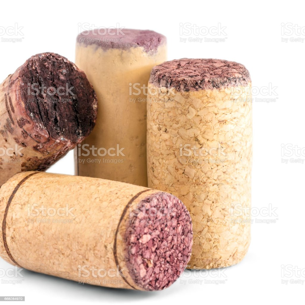 Close-up group of different wine corks used bottle stopper in studio on white background - Photo