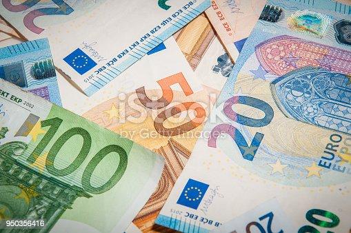 banknote: 20 euro 50 euro 100 euro thrown on the ground
