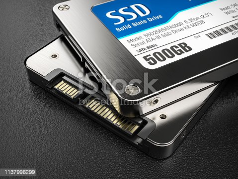 Closeup group of SSD on background 3d render