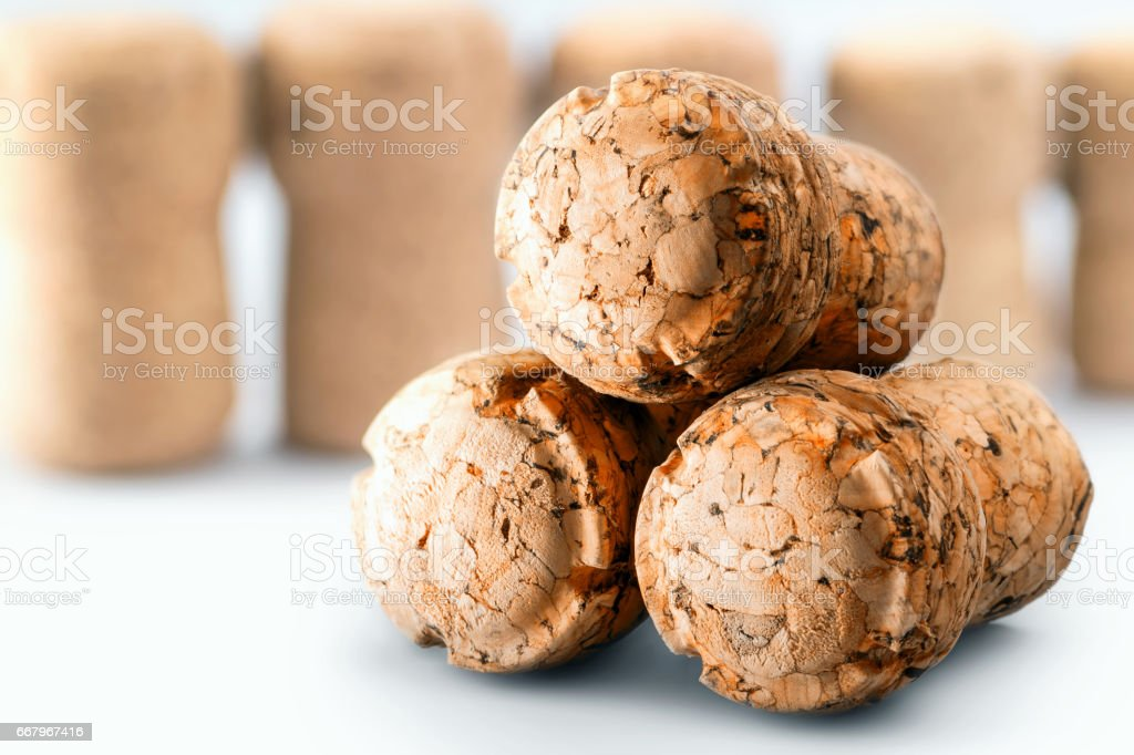 Close-up group of three clean beer corks stack of bottle stopper in studio on white background - Photo