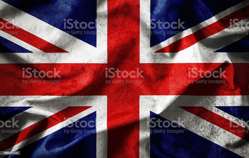 Closeup grunge of ruffled British flag stock photo