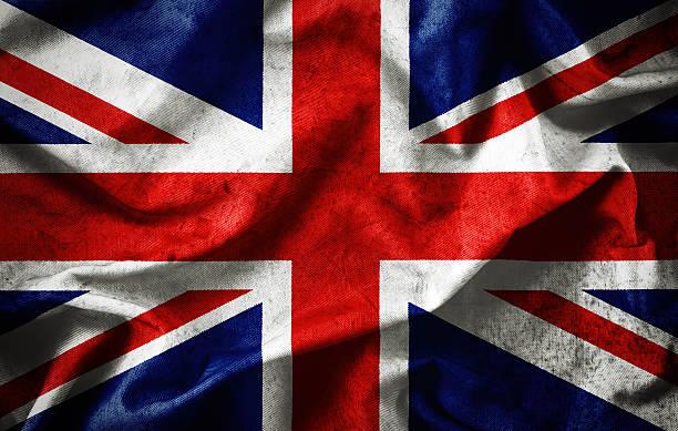 Closeup grunge of ruffled British flag stock photo