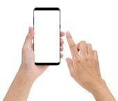 携帯電話モバイル孤立した白い背景の上に触れるとクローズ アップ手保持