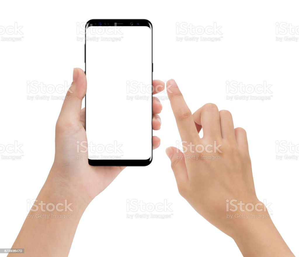 close-up hand hold and touching on phone mobile isolated white background stock photo