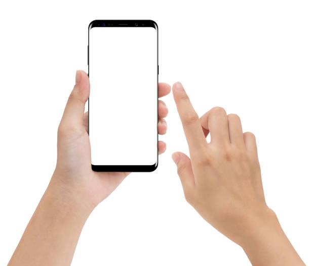 close-up de mãos e tocando no fundo branco isolado de telefone móvel - dedo termo anatômico - fotografias e filmes do acervo