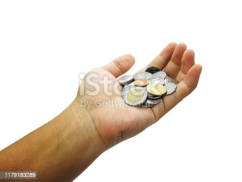 Closeup hand hold Thai baht coins  isolated on white background with clipping path using as financial and money savings concept.