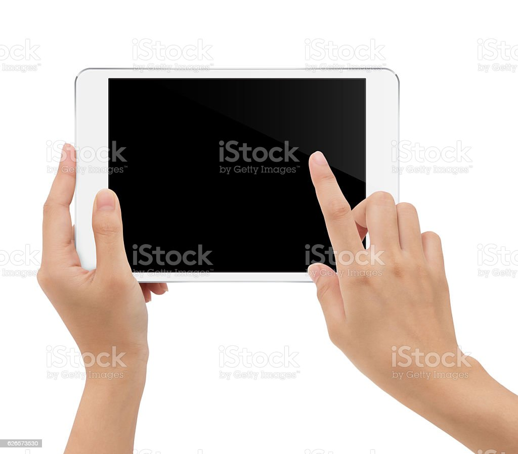 close-up hand holding tablet isolated white background stock photo
