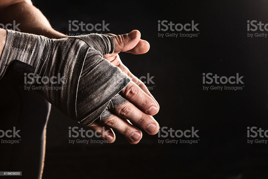 Close-up hand of muscular man with bandage stock photo