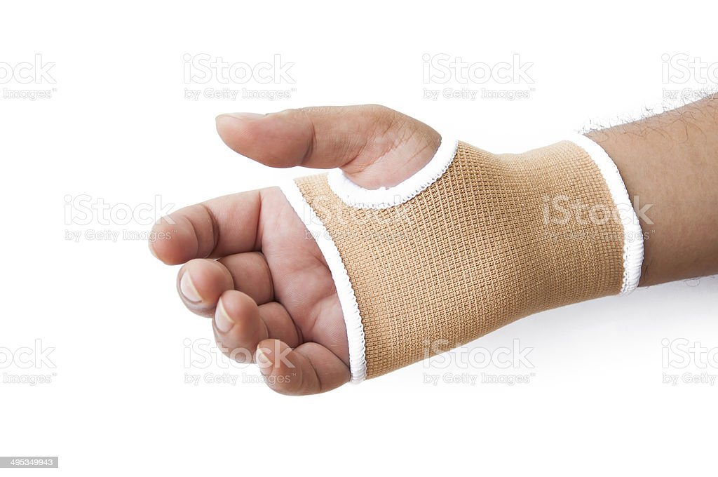Close-up hand splint for broken bone treatment isolated on white stock photo