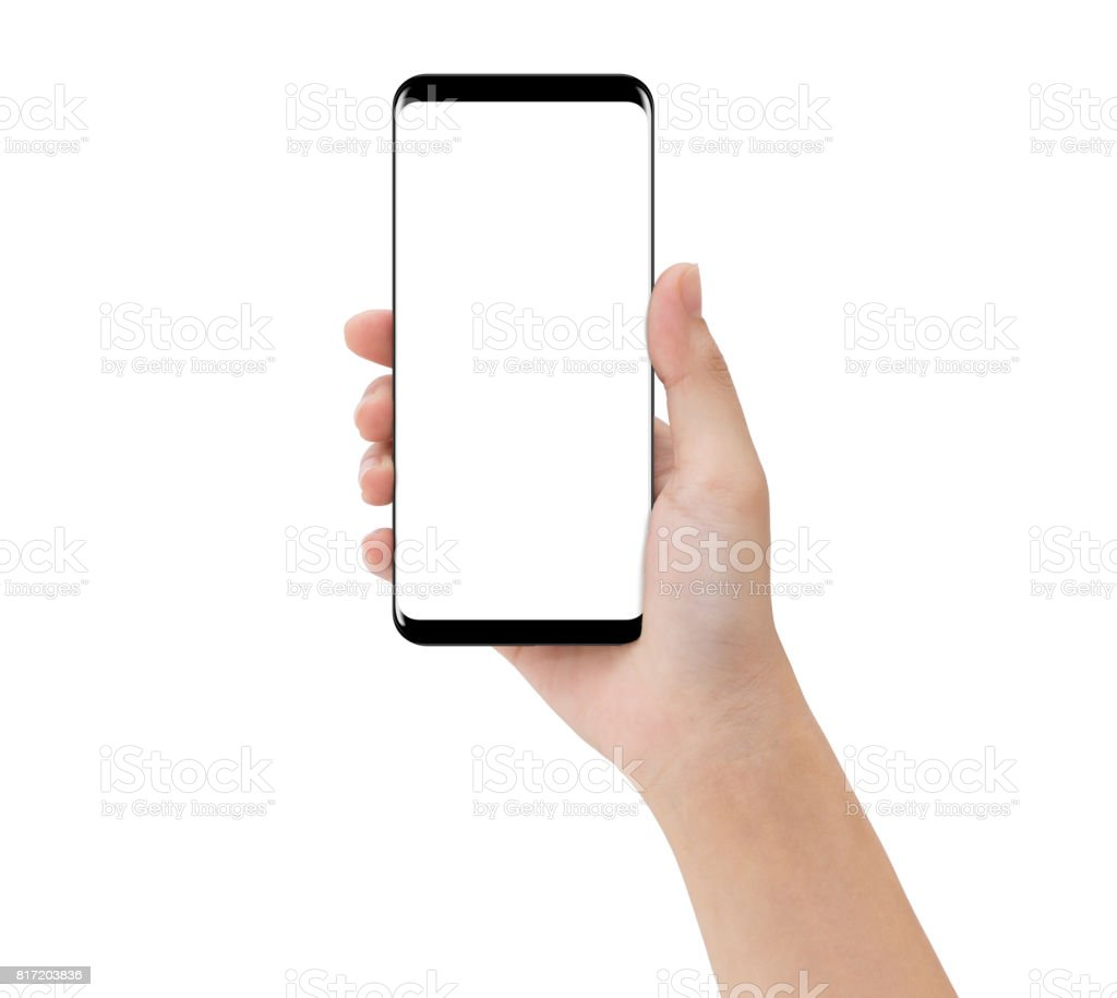 01937d715135 Closeup Hand Touching Phone Mobile Isolated On White Mockup ...