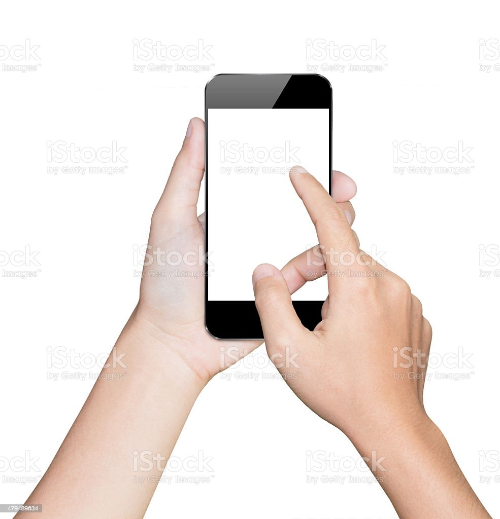 closeup hand using smartphone white mobile clipping path inside stock photo