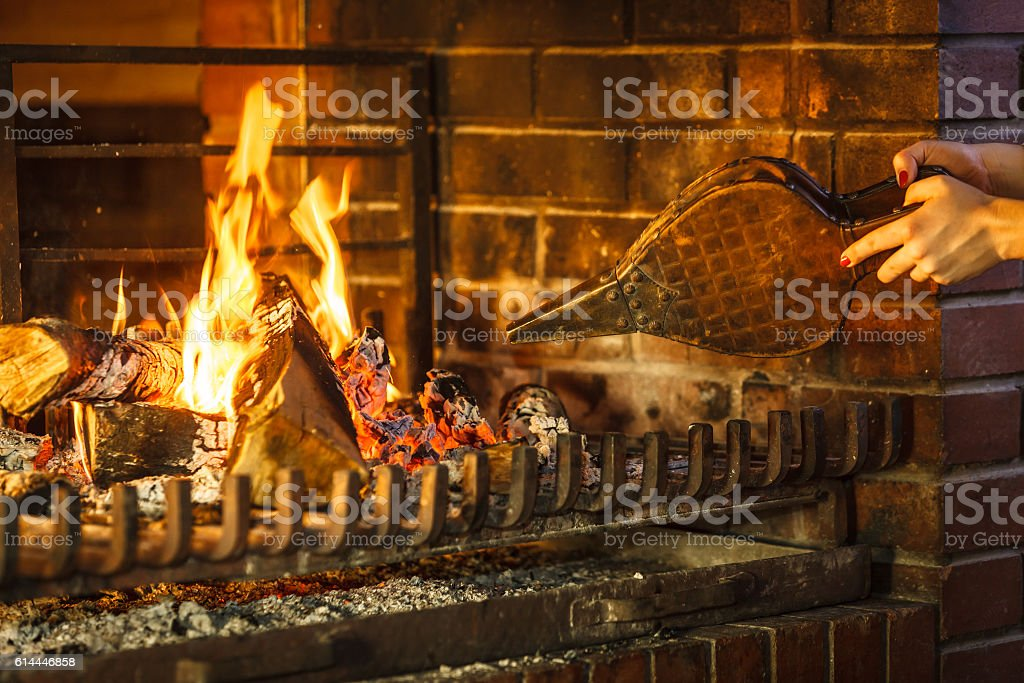 Closeup Hands Fireplace Making Fire With Bellows Stock Photo More