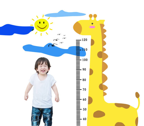 Closeup happy asian kid stand for measure height with cute cartoon isolated on white background stock photo