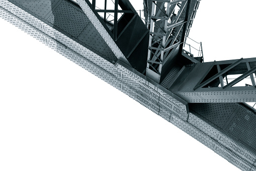Closeup Harbour Bridge steel structure, white background with copy space, full frame horizontal composition