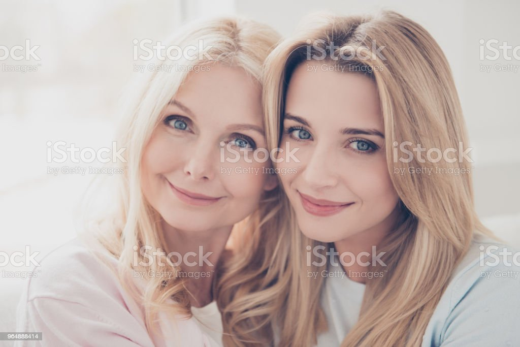 Closeup head shot portrait of trendy attractive charming mother and daughter looking at camera enjoying meeting freetime in cozy ordinary atmosphere trust support concept royalty-free stock photo