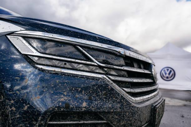 Closeup headlight of Volkswagen Touareg Third generation 2019 stock photo