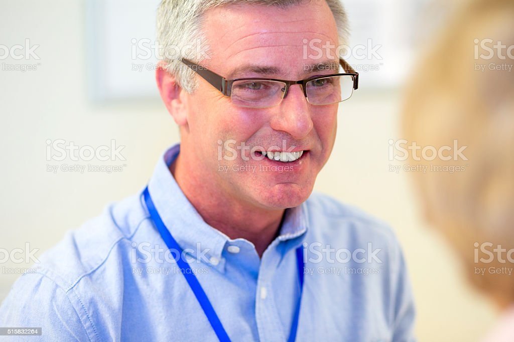 Close-up Headshot of a Mature Doctor stock photo