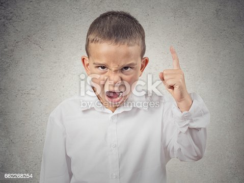 istock Closeup Headshot side view Portrait Angry Child Screaming 662268254