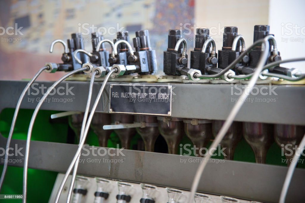 Closeup High Pressure Diesel Fuel Pump Test Bench Stock