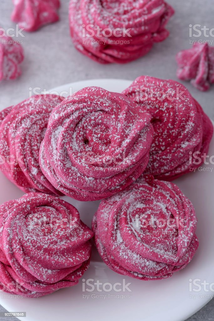 Close-up homemade meringues stock photo