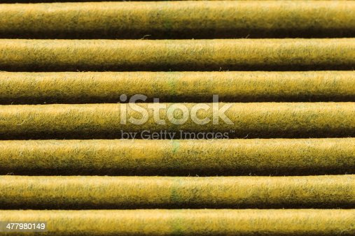 istock Closeup Horizontal Grooves of Used Air Filters showing Material Textures 477980149