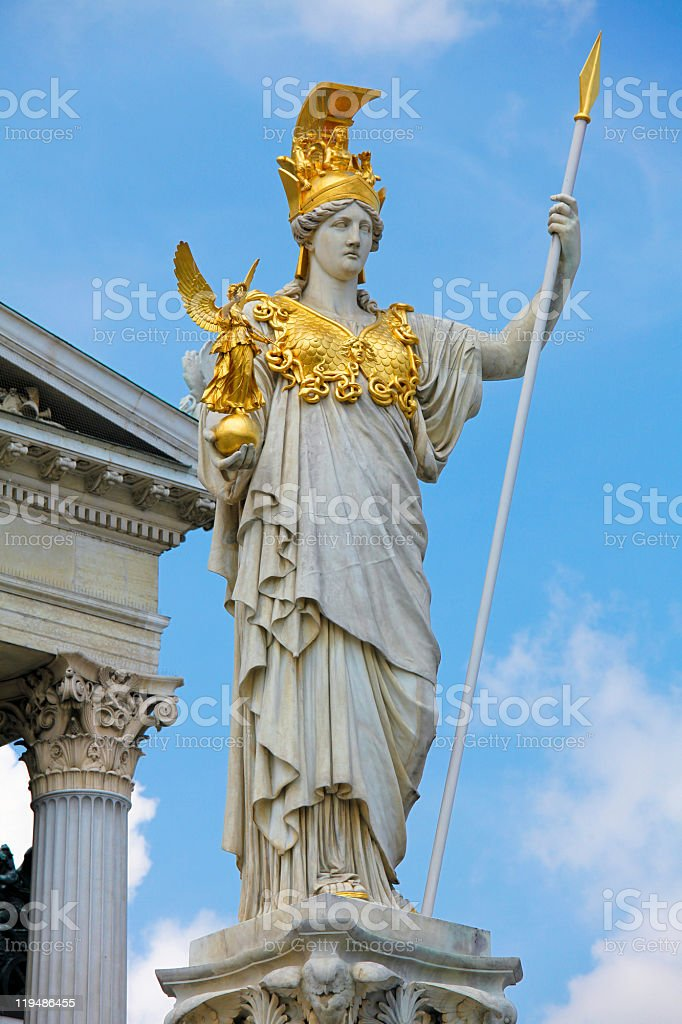 Close-up if the Pallas Athena fountain in Vienna stock photo