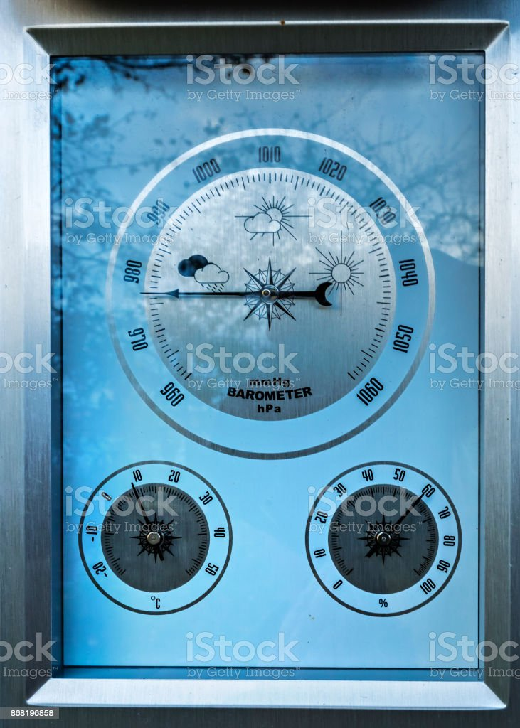 Close-up image of a barometer scale stock photo