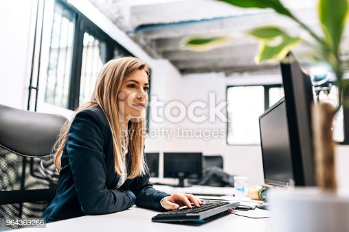 Close-up image of a businesswoman working on the computer.