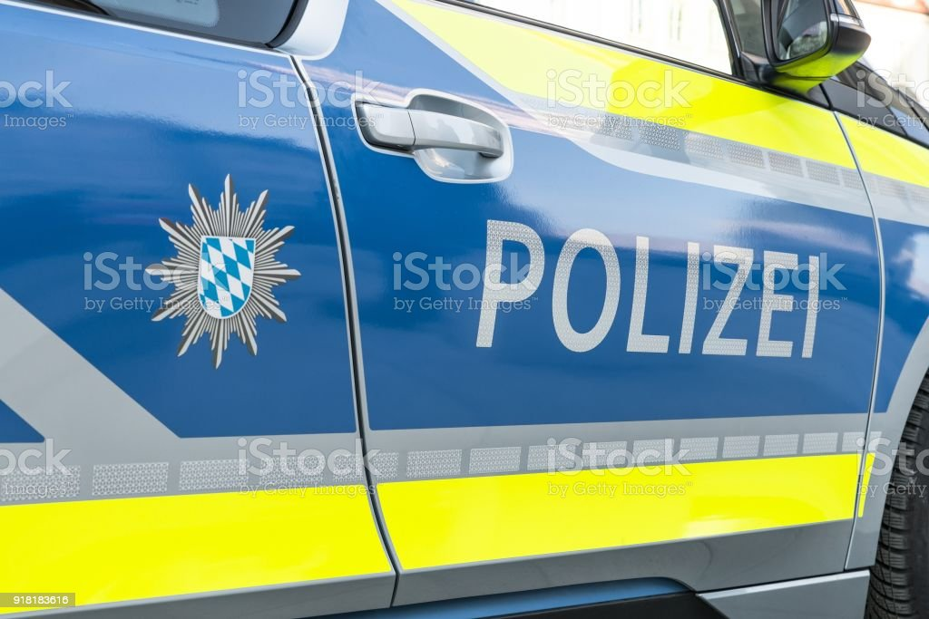 Close-up image of a German police car stock photo