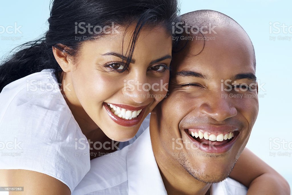 Closeup image of a happy romantic young couple stock photo