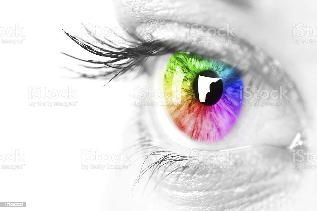 Close-up image of a rainbow colored iris stock photo