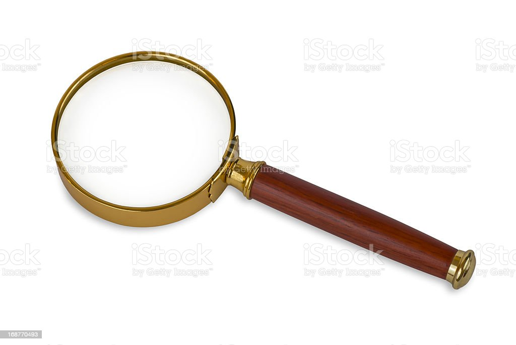 Closeup Image of an Isolated Magnifying Glass royalty-free stock photo