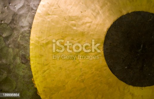 Closeup abstract image of chinese brass gong.