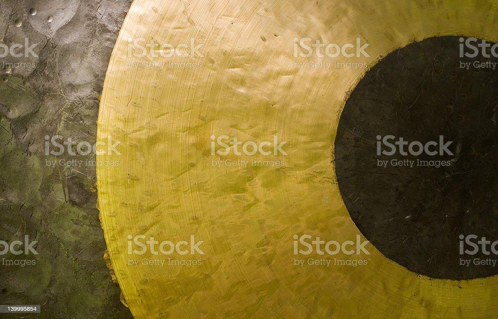 Closeup image of brass gong stock photo