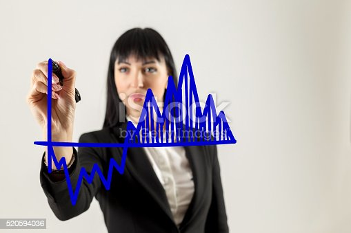istock Closeup image of businesswoman drawing graph 520594036