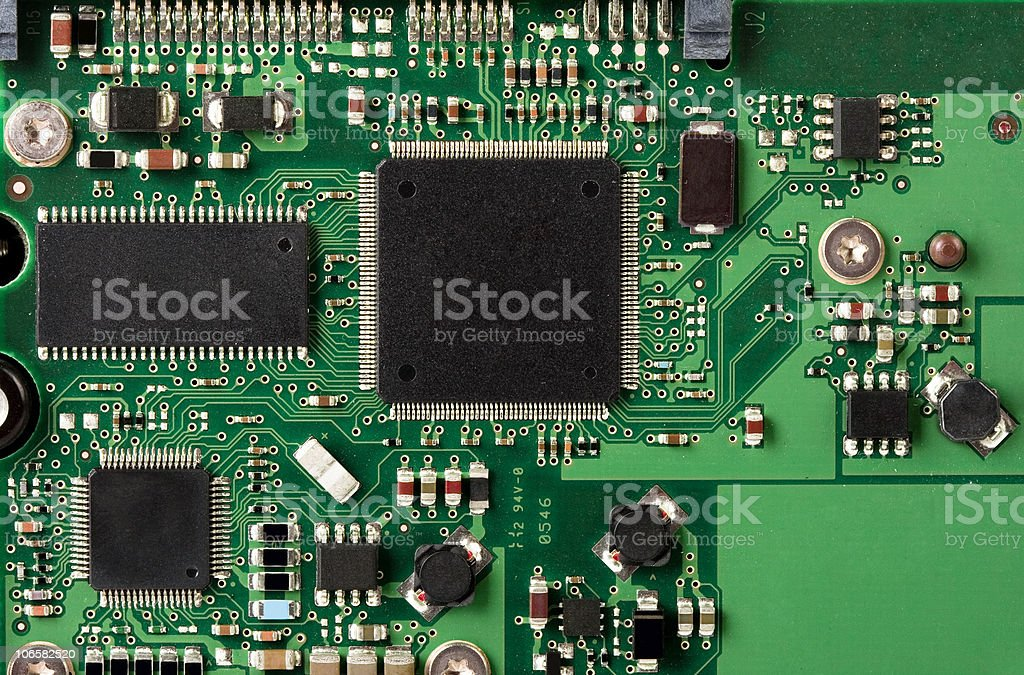 Closeup image of computer electronics systems stock photo