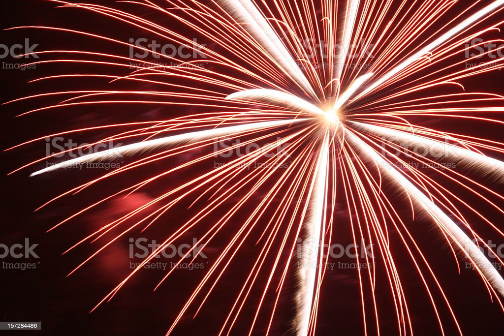 Close-up image of fireworks 21 against night sky royalty-free stock photo