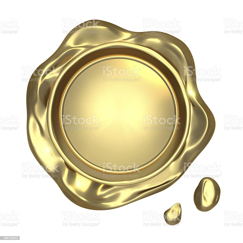 Close-up image of golden seal wax stock photo