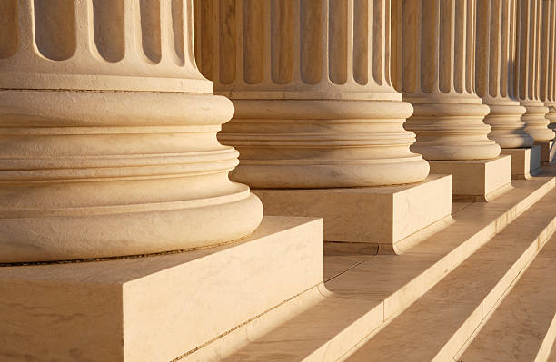 Close-up image of large classical columns in a row