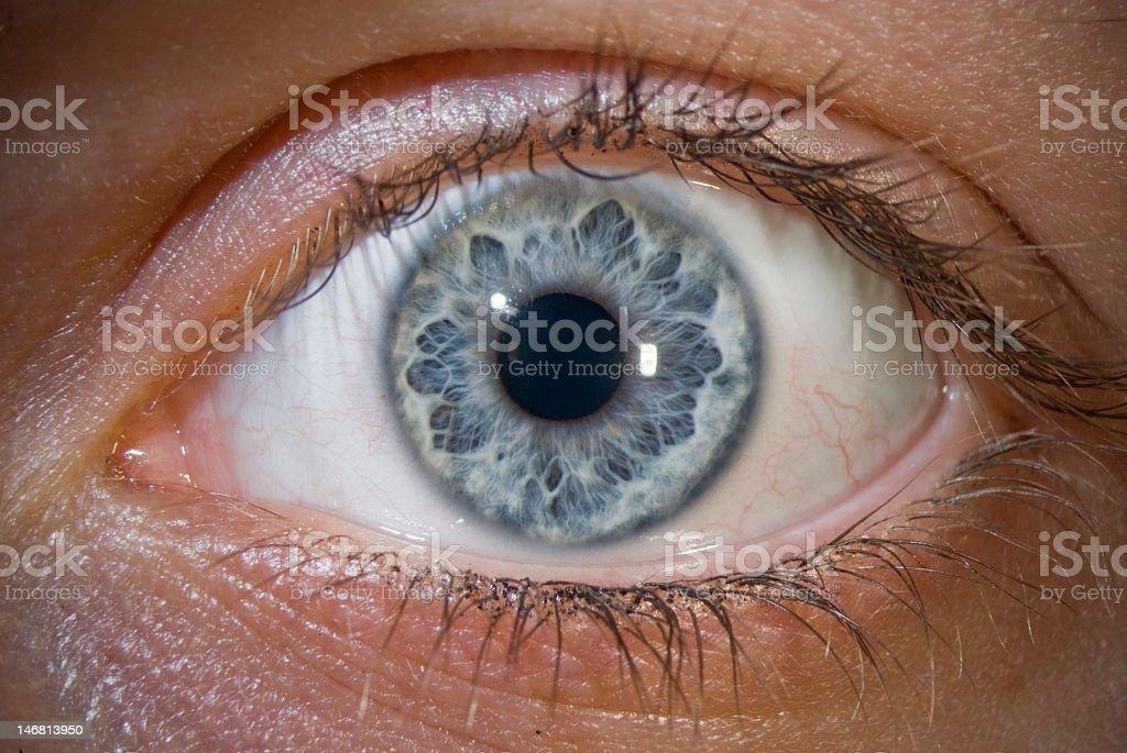 Close-up image of light blue eye and eyelashes stock photo